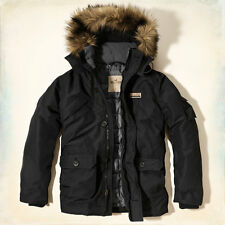 NWT Hollister by Abercrombie&Fitch Mens Doheney Parka Jacket Coat Black L