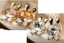 New Fashion Korean Rhinestone Color Optional Bow Lovely Rabbit Ear Stud Earrings