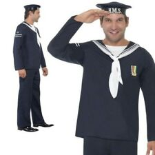Adult Navy Sailor Costume Mens Naval Seaman Officer Fancy Dress Outfit