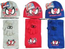 Boys  RED, BLUE or GREY  Official SPIDERMAN Knitted Hat Gloves Scarf Set  3-6yrs