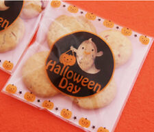 2017 BOO Pumpkin Halloween Cello Cellophane Party Favour Sweet Biscuit Gift Bags