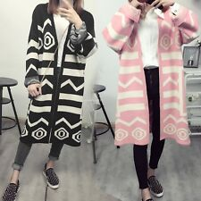 Women Casual Long Sleeve Knitted Sweater Cardigan Open Front Coat Top Outwear
