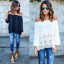 Fashion Sexy Women Lady Summer Blouse Off Shoulder Loose Casual T Shirt Tops New