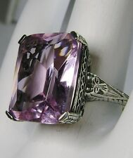 10ct *Pink Morganite* Sterling Silver 925 Victorian Filigree Ring  Size: Any/MTO