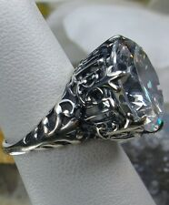 12ct White Gem Solid Sterling Silver Gothic King Filigree Ring Size: Any/MTO