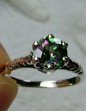 Victorian Wedding Natural Mystic Topaz Sterling Silver Filigree Ring Size: {MTO}