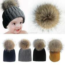Lovely Kids Baby Warm Winter Knit Raccoon Fur Pom Bobble Hat Crochet Ski Caps