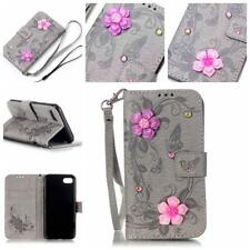 YB-3D Flower PU Leather Case Stand TPU Shell Cover For Apple iphone 7 4.7
