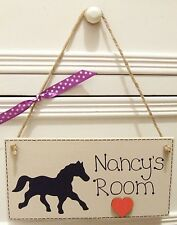 HANDMADE PERSONALISED PLAQUE SIGN HORSE PONY GIRLS BEDROOM SHABBY CHIC HOME GIFT