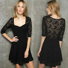 Womens Casual Trendy Lace See-through Half Sleeve Tunic Mini Dress Lining 6442