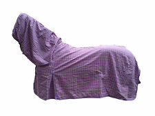 AXIOM POLYCOTTON LAVENDER & WHITE CHECK RIPSTOP UNLINED HORSE COMBO RUG 6'3