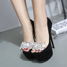 Bling Crystal Peep Toe High Heels Platform Chic Pumps Women Stiletto Suede Shoes
