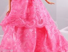 Fashion Handmade Barbie Party Pink Clothes/Dress/Skirt/Gown For Barbie Doll 095