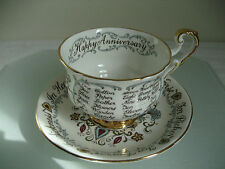 """VINTAGE PARAGON """"HAPPY ANNIVERSARY"""" TEA CUP AND SAUCER"""