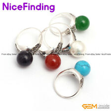 Round Beads Tibetan Silver Rings Fashion Jewelry For Women Gifts Assorted Stone