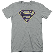 Superman Navy & Gold Shield Mens Tri-Blend Short Sleeve Shirt