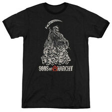 Sons Of Anarchy Pile Of Skulls Mens Adult Heather Ringer Shirt