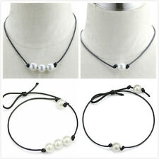 New Arrival Pearl Fashion Charm Bohemia Black Leather Choker Necklace Jewelry