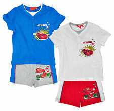 Boys Disney Pixar CARS Lightning McQueen Button T-Shirt & Shorts Set 3 - 8 Years