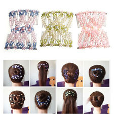 Women Fashion Easy Magic Beads Double Hair Comb Clip Stretchy Hair Combs Clips