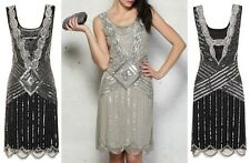 BLACK SEQUIN CHARLESTON FLAPPER uk 8 10 12 14 16 GATSBY dress 20's ART DECO