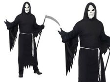 Grim Reaper Deluxe Mens Halloween Ghost Fancy Dress Outfit M,L + Mask