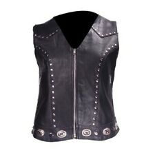 WOMENS STUDDED MOTORCYCLE LEATHER VEST w/ CONCHO & CONCEALED GUN POCKETS - DA92