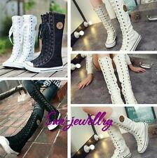 Gothic PUNK Women Rock Boot Girls Shoes Sneaker Knee High Zip Laces Up High Boot