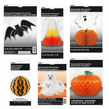HALLOWEEN Honeycomb DECORATION (Table/Hanging) Paper Pumpkins/Bats/Ghosts+