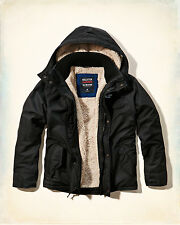 NWT Hollister-Abercrombie&Fitch Mens All-Weather Jacket Sherpa-Lined Black XL