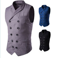 Mens Classic Casual Double Breasted Blazer Collar Waistcoat Coat Slim Fit Vest