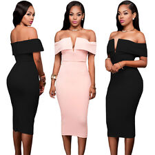 Off Shoulder Party Dress Sexy Women Evening Cocktail Bodycon V-neck Skirt Casual