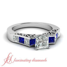 1.85 Ct Princess Cut Diamond & Blue Sapphire Engagement Ring VS1 GIA Certified