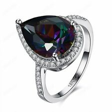 Colorful Water Drop Cubic Zirconia Wedding Ring Women Platinum Plated Jewelry