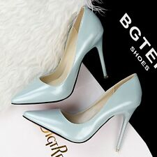 Solid Classics Pointed Toe Pumps Slim High Heels PU Women Lady Formal Work Shoes
