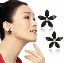 Sakura Flower 7Colors Earrings Crystal Rhinestone Ear Studs Women Jewelry Gifts