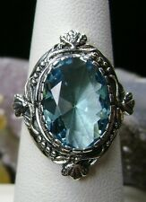 5ct Oval *Aquamarine* Solid Sterling Silver Victorian Filigree Ring Size Any/MTO