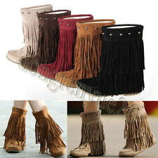 New Retro Women's Fringe Tassels Ankle Boots Warm Thicken Lining Snow Boots