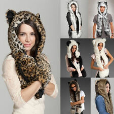 New Winter Hood Animal Faux Fur Hat Scarf With Mittens Gloves Pocket Paw Print