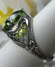 3ct *Peridot* Sterling Silver Bow Art Deco 1930's Filigree Ring Size: Any/MTO