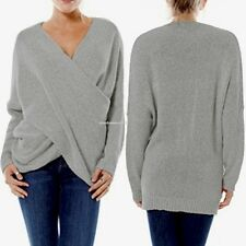 Fashion Women V-Neck Long Sleeve Knitted Sweater Jumper Casual Knitwear Pullover