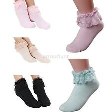 Fashion Womens Lady Ankle Fancy Retro Lace Solid Color Ruffle frilly Short Socks