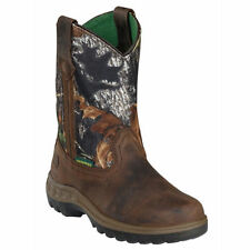 John Deere Childrens/Youth Tan and Camo Waterproof Western Boots JD2468/JD3468