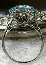 5ct*Aquamarine* Sterling Silver Edwardian 1910 Etched Filigree Ring Size Any/MTO