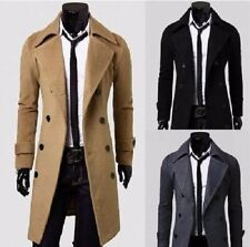 Military Style Long Trench Double Breasted Mens Slim Fit Comfort Winter Coat