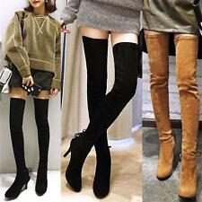 Womens Pointy Toe Suede Thigh Boots Stretchy Over Knee High Boots Leather Shoes