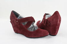 New Tesori Tillie Burgundy Suede Rounded Closed Toe Criss Cross Wedge