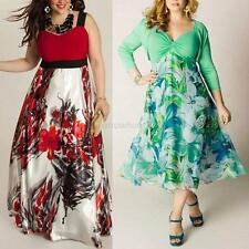 Women Long Sleeve Slim Party Dress Floral Bridesmaid Prom Gown Maxi Dresses NEW