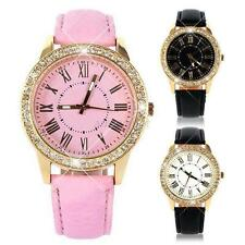 Women Ladies Bling Gold Crystal Leather Watch Strap Quartz Wristwatch New