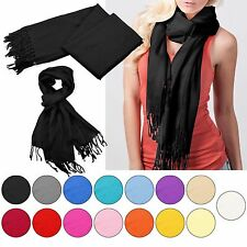 Fashion Women Cashmere Silk Solid Long Pashmina Shawl Wrap Scarf Stole